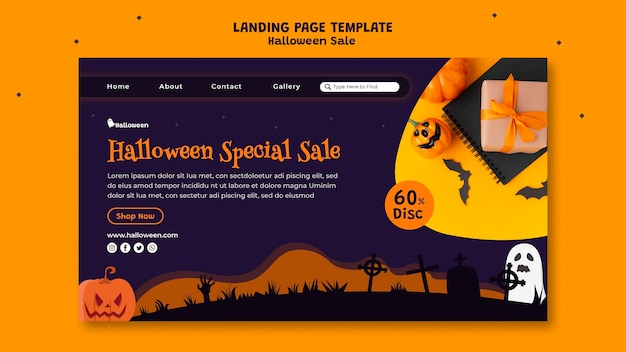 Landingpage-vorlage für halloween-verkauf