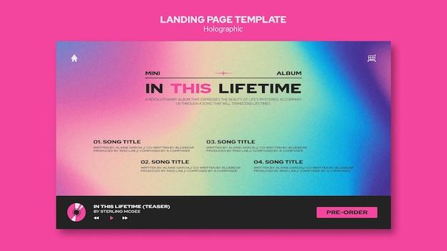 Landingpage-vorlage für holographisches design