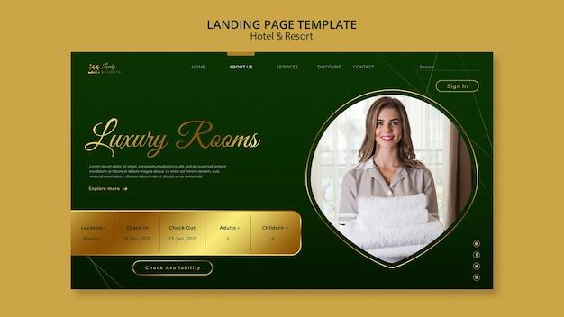 Landingpage-vorlage für hotel und resort