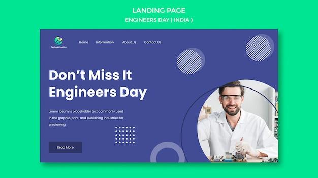 Landingpage-vorlage für ingenieur-tagesfeier