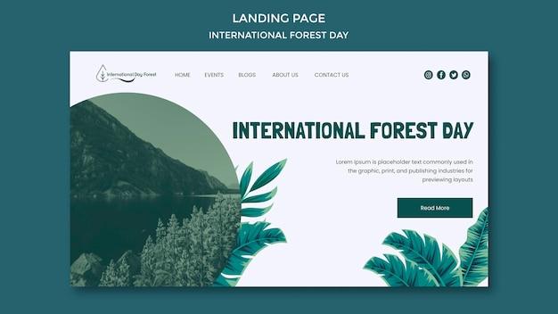 Landingpage-vorlage für internationale waldtagsfeier Premium PSD