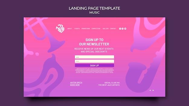 Landingpage-vorlage für jazzfestival und club