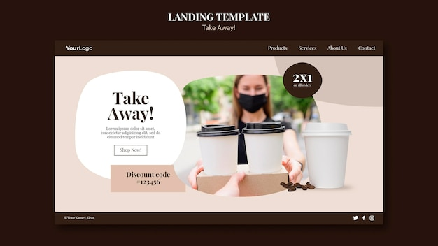 Landingpage-vorlage für kaffee zum mitnehmen