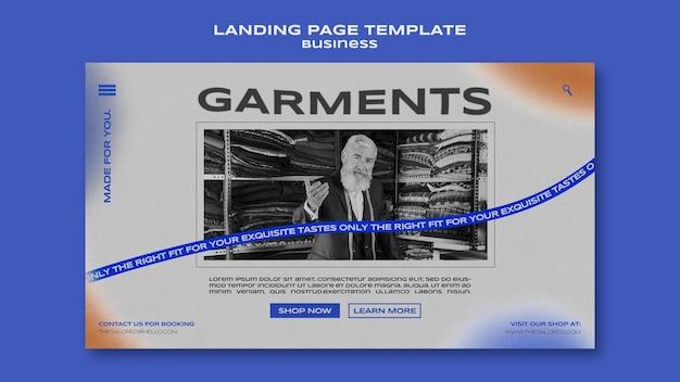 Landingpage-vorlage für kleidungsstücke