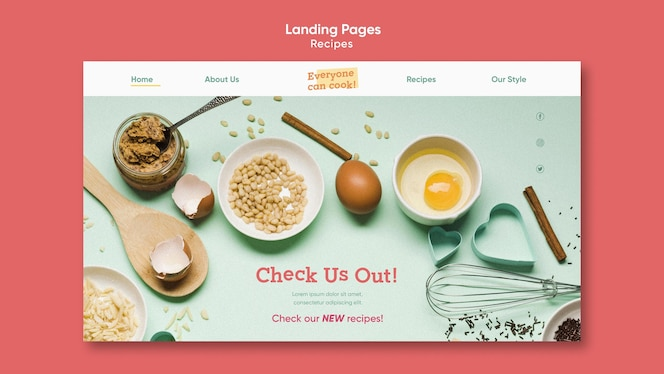 Landingpage-vorlage für kochrezepte