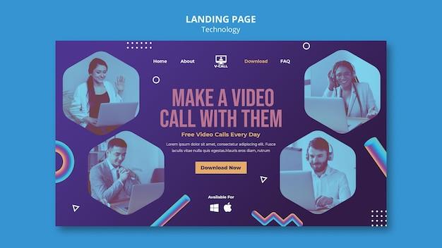 Landingpage-vorlage für kommunikations-apps