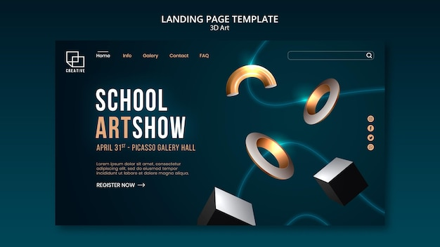 Landingpage-vorlage für kunstausstellung mit kreativen dreidimensionalen formen