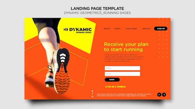 Landingpage-vorlage für laufschuhe Premium PSD