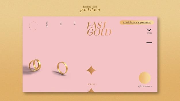 Landingpage-vorlage für luxuriöses gold