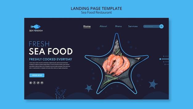 Landingpage-vorlage für meeresfrüchtekonzept