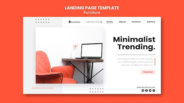 Landingpage-vorlage für minimalistische möbeldesigns