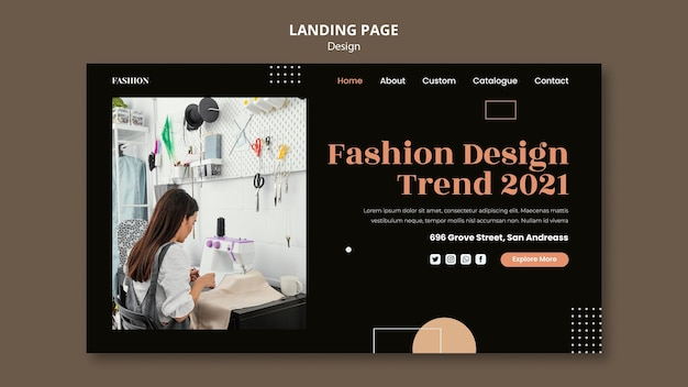 Landingpage-vorlage für modedesigner