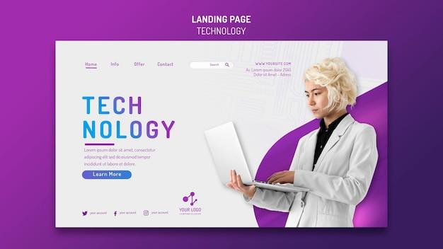 Landingpage-vorlage für moderne technik mit laptop