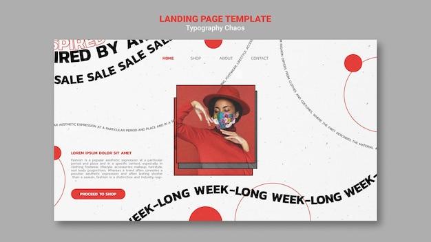 Landingpage-vorlage für modetrends mit frau, die gesichtsmaske trägt
