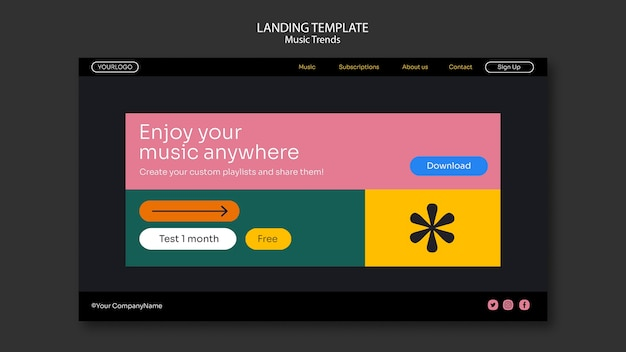 Landingpage-vorlage für musik-streaming-plattform