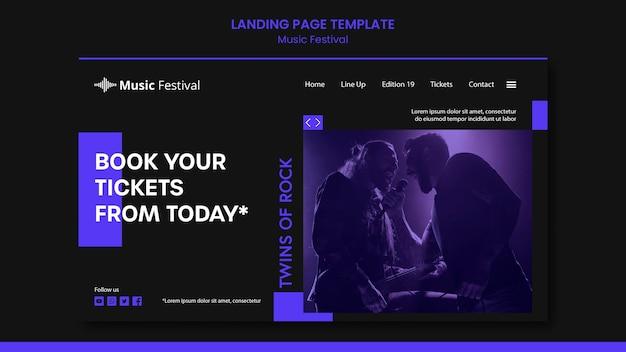 Landingpage-vorlage für musikfestivals