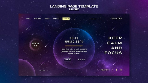 Landingpage-vorlage für musikkonzept