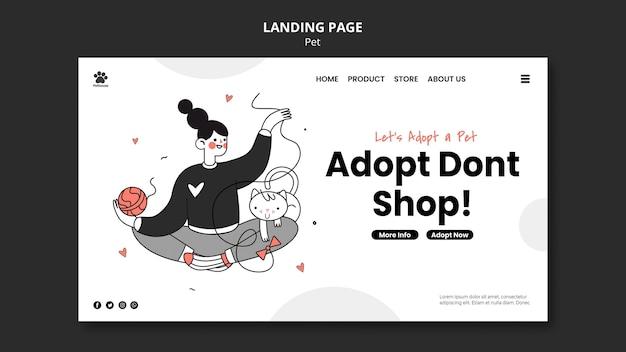 Landingpage-vorlage für nationalen haustiertag mit weiblichem besitzer und haustier