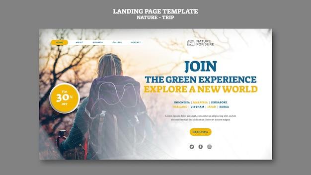 Landingpage-vorlage für naturreisen