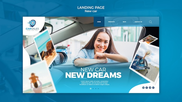 Landingpage-vorlage für neues autokonzept