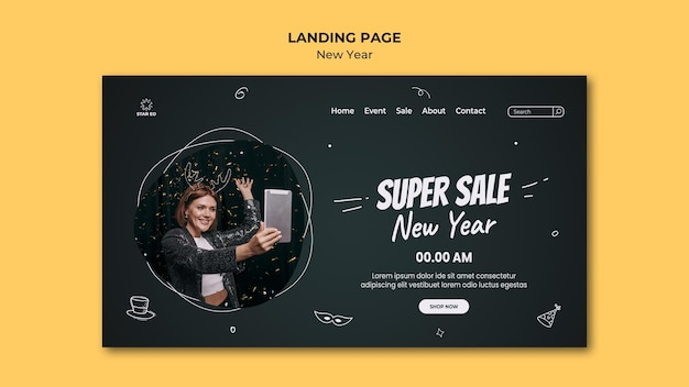 Landingpage-vorlage für neujahrsparty