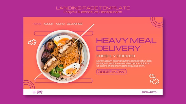 Landingpage-vorlage für nudelrestaurants