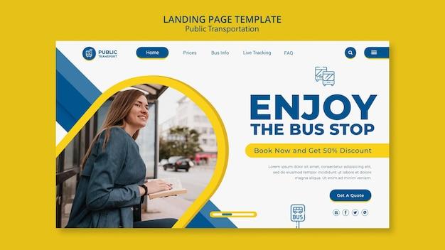 Landingpage-vorlage für öffentliche verkehrsmittel