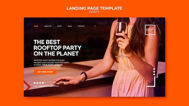 Landingpage-vorlage für party auf dem dach