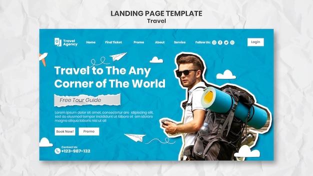 Landingpage-vorlage für reisen mit foto