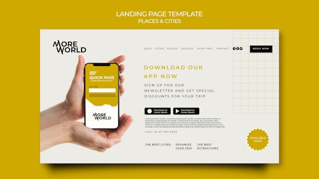 Landingpage-vorlage für reisende städte und orte