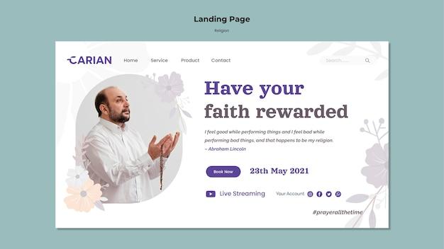 Landingpage-vorlage für religionen