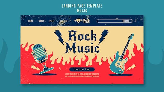 Landingpage-vorlage für rockmusikfestivals