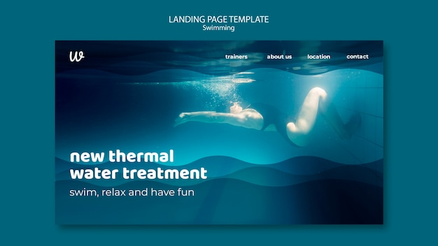 Landingpage-vorlage für schwimmunterricht mit foto