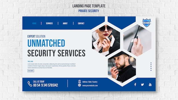 Landingpage-vorlage für sicherheitsdienste