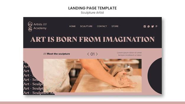 Landingpage-vorlage für skulpturenwerkstatt