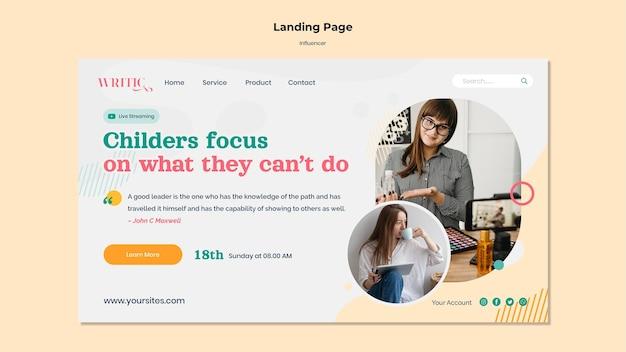 Landingpage-vorlage für social media-influencerinnen