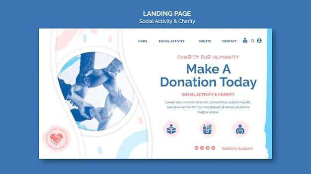 Landingpage-vorlage für soziale aktivitäten und wohltätigkeit