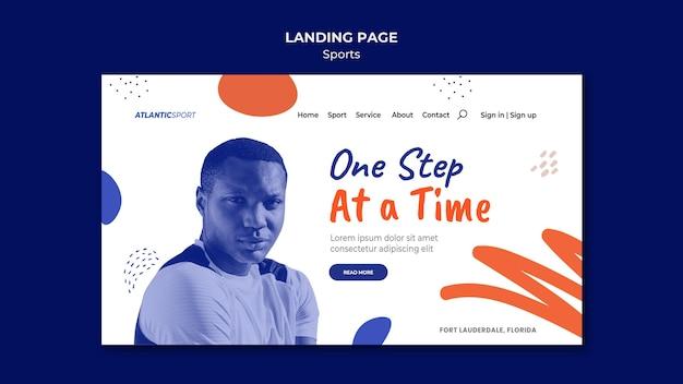Landingpage-vorlage für sport mit mann