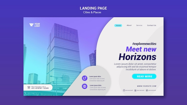Landingpage-vorlage für städte und orte
