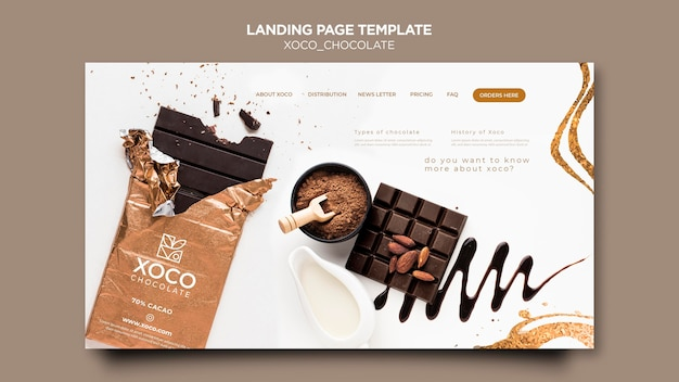 Landingpage-vorlage für süße schokolade