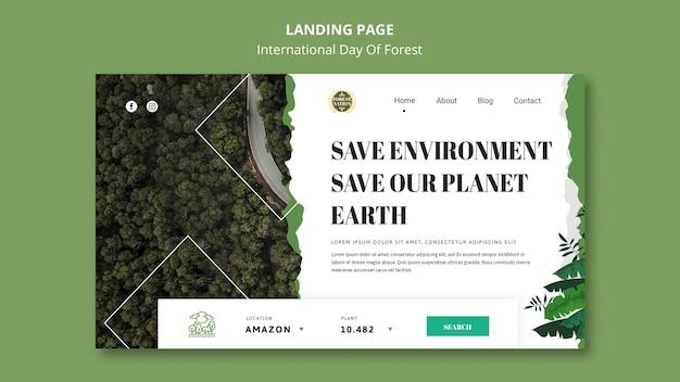 Landingpage-vorlage für tag des waldes mit natur Premium PSD