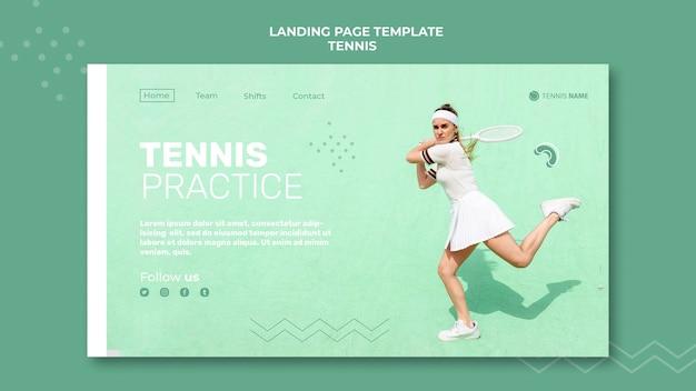 Landingpage-vorlage für tennisübungen