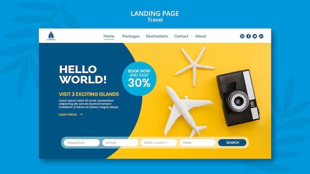 Landingpage-vorlage für urlaubsreisen Premium PSD