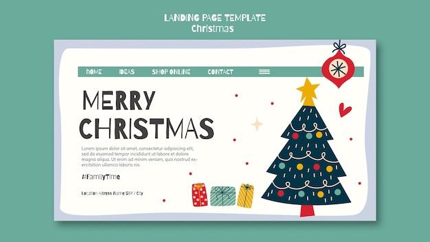 Landingpage-vorlage für weihnachten Premium PSD