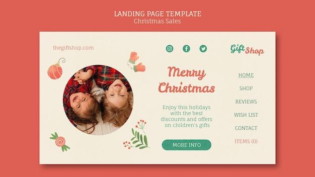 Landingpage-vorlage für weihnachtsverkauf mit kindern