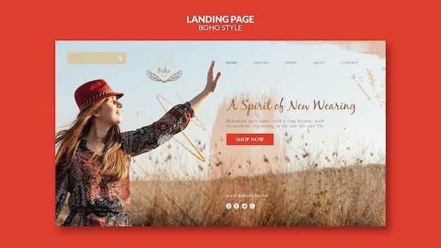 Landingpage-vorlage im boho-stil