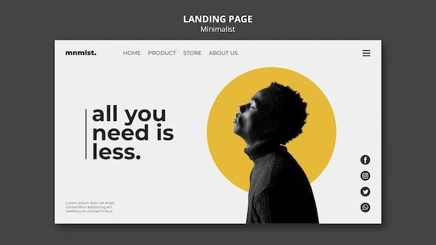 Landingpage-vorlage im minimalstil für kunstgalerie mit mann