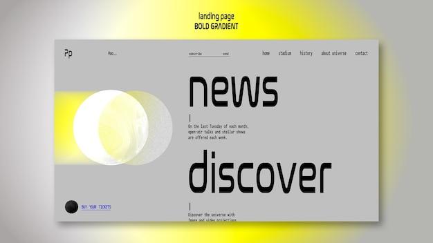 Landingpage-vorlage in fettem farbverlauf mit planet und wissenschaft