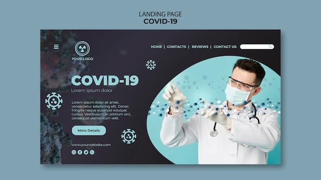 Landingpage-vorlage mit covid 19-thema