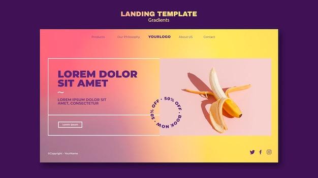 Landingpage-vorlage mit farbverlauf
